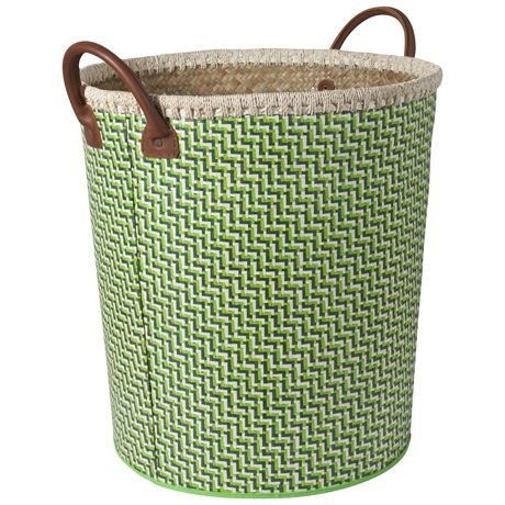 Bizzare Leather Handle Basket 44cm | Freedom Furniture and Homewares