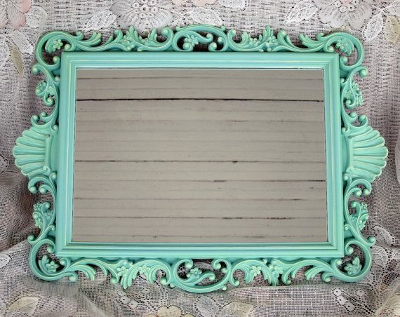 Vintage Aqua Beach Cottage Mirror Sea Green Shell Motif Ornate Rectangle Shabby Chic