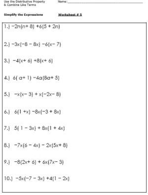 Practice Simplifying Expressions With These Algebra Worksheets: Worksheet #5 - Use the Distributive Property, Combine Like Terms