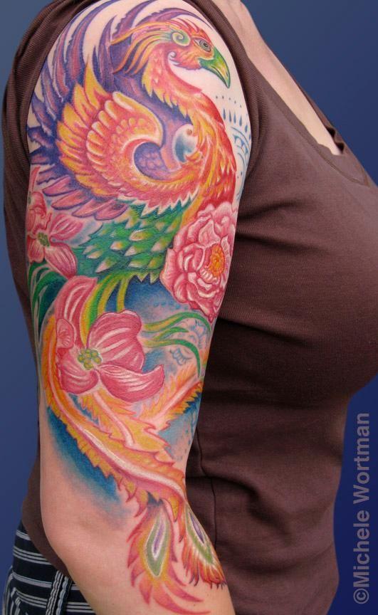 Meer dan 1000 idee n over phoenix tattoo sleeve op for Phoenix tattoo half sleeve