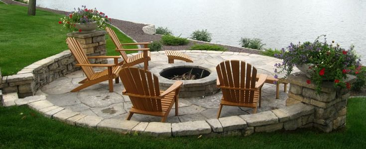 Lakeside Stone Firepit and Stairs - close up of firepit ... on Lakefront Patio Ideas id=77402