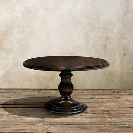 """Dauphine 54"""" Round Pedestal Dining Table With Planked Top"""