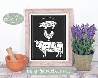 Wall Art, Printable Wall Art, Butcher Printable, Kitchen Printable, Butcher Print, Kitchen Print, Kitchen Art, Gift for Chef, Gift for Cook