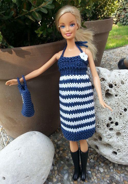 Modro-bílé šaty + kabelka pro Barbie