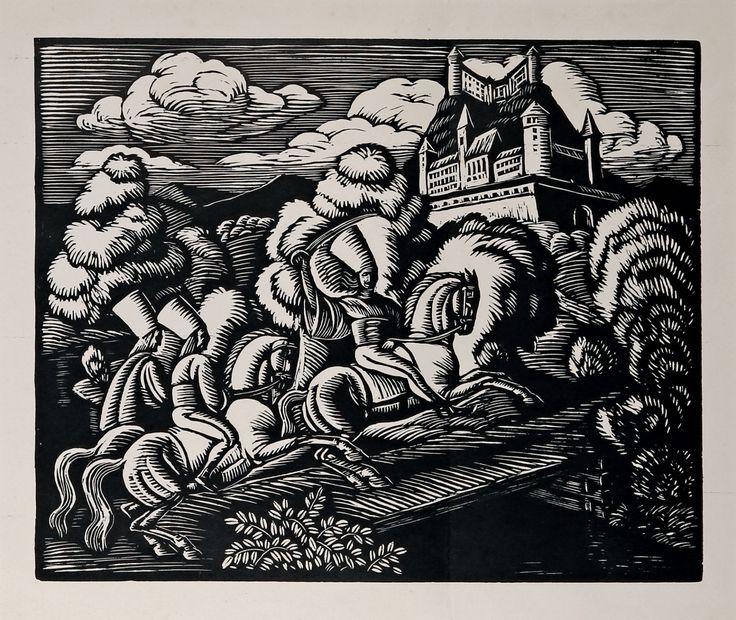 Władysław Skoczylas (1883-1934, polish) Zbójnicy pod zamkiem, 1929 r. drzeworyt/papier