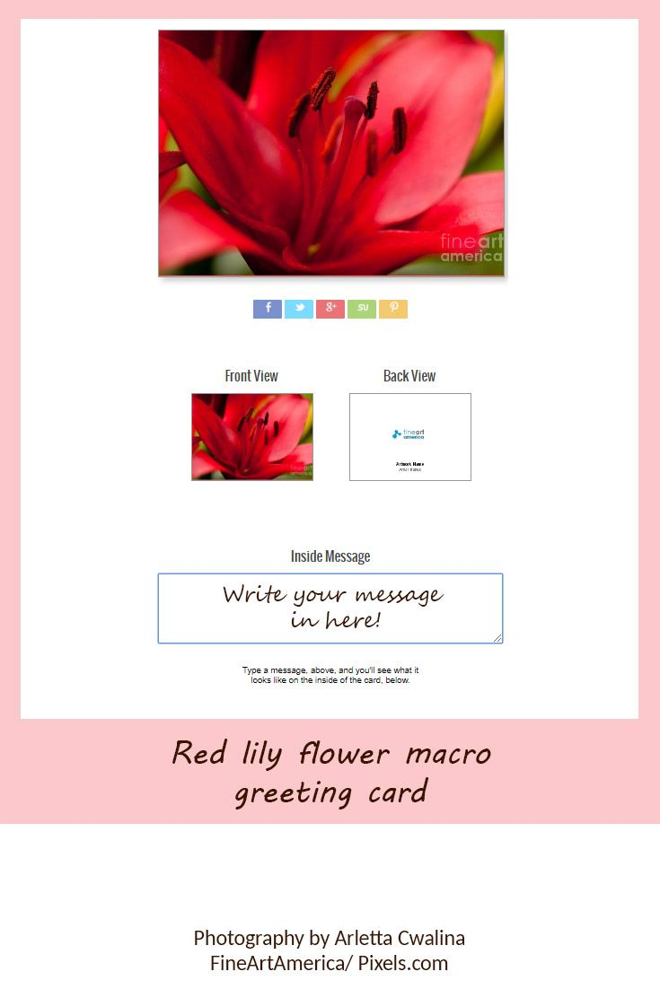 Did you know? On FineArtAmerica you can write your message in the greeting card before it's printed! Red lily flower macro, beautiful blossom detail photography by Arletta Cwalina. See more clothes and home decor ideas and if you love it, feel free to share, maybe your friends would like to have it too :) #homedecor #greetingcard #redlilies