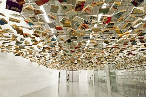 Hanif Shoaei, books suspended above an entrance to the Istanbul Modern Art Museum