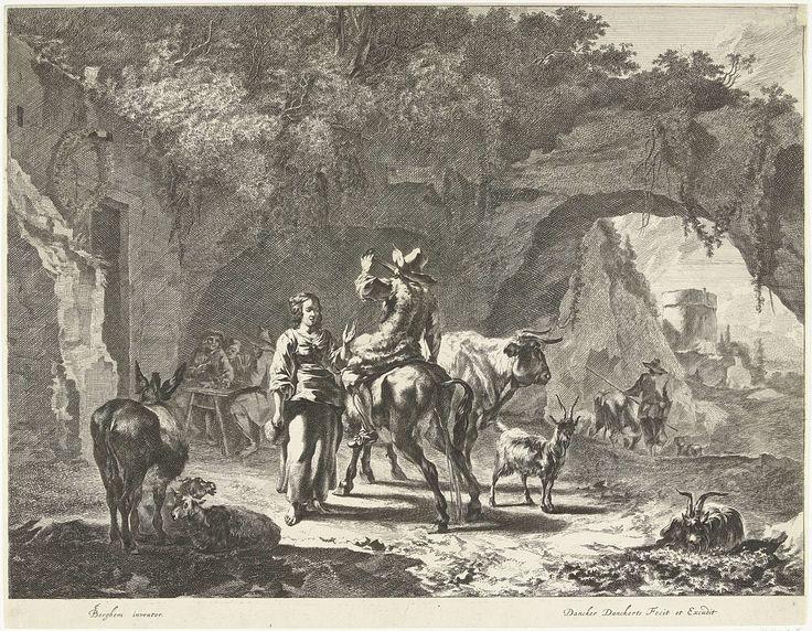 Dancker Danckerts | Avond: herder bij herberg in rots, Dancker Danckerts, 1660 - 1666 | Herder zittend op muilezel drinkt glas leeg terwijl het beest staat te plassen voor een herberg in een rots. Een groepje mannen drinkt en rookt aan een tafeltje voor een rotswand. Prent nummer 3 uit serie van vier prenten met tijden van de dag.