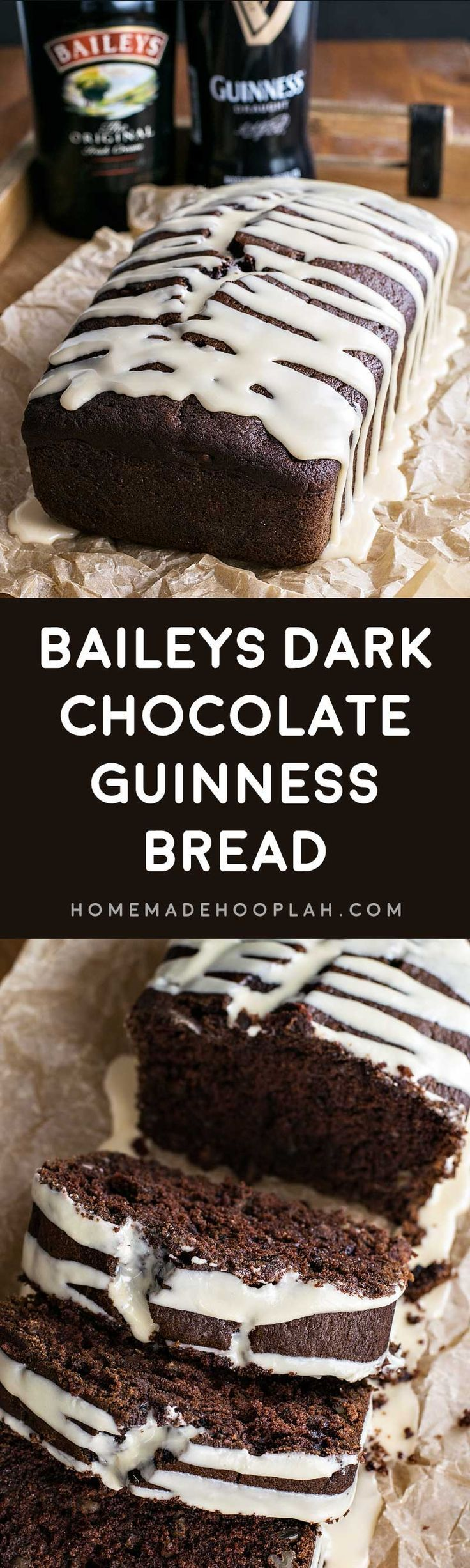 Baileys Dark Chocolate Guinness Bread! Rich and dark chocolate Guinness bread laced with chocolate chips and walnuts then frosted with a sweet Baileys glaze. | http://HomemadeHooplah.com