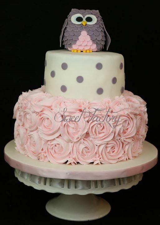 Owl baby shower cake / baby shower girl cake