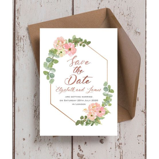 blush pink flowers wedding save the date in 2018 wedding save the
