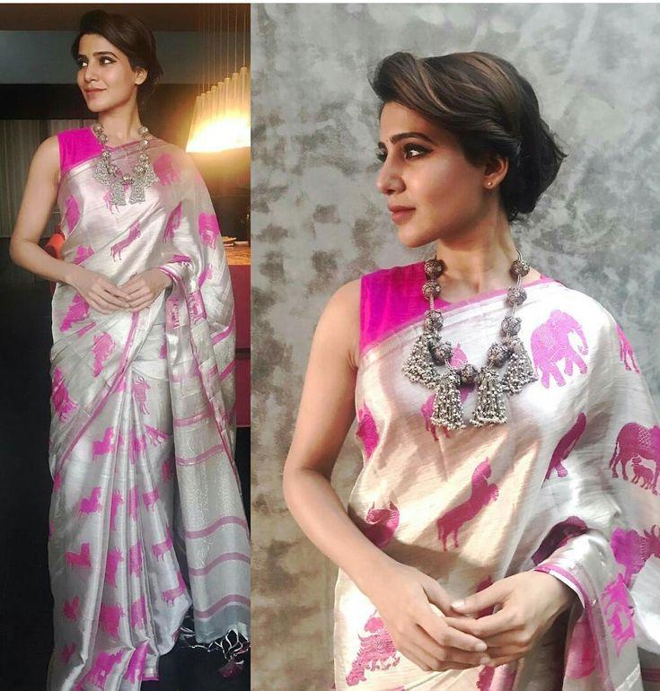 Samantha ruth prabhu in pink and silver elephant print saree