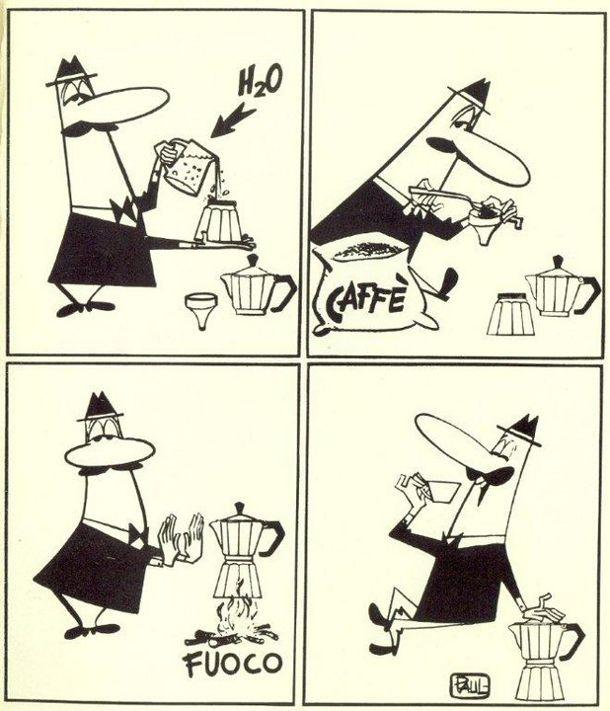 Vintage Bialetti moka cartoon shows you how to make the proper Italian espresso