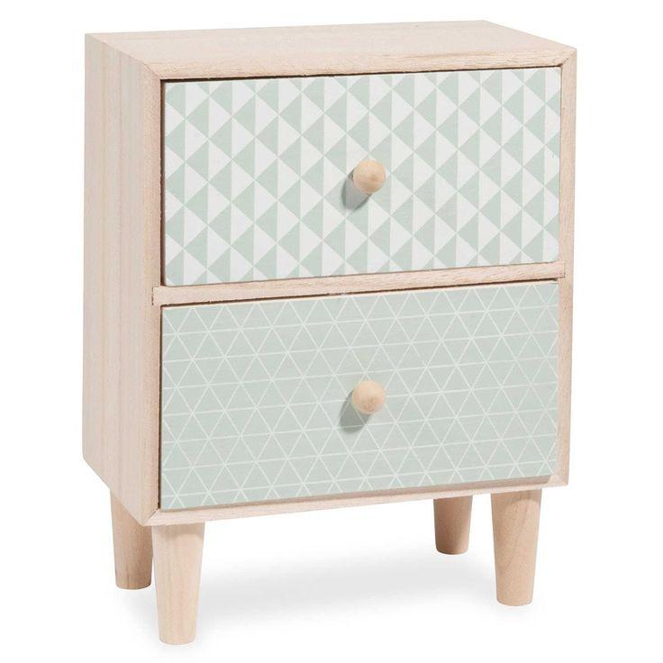 patterned mint green paulownia 2-drawer box | Maisons du Monde