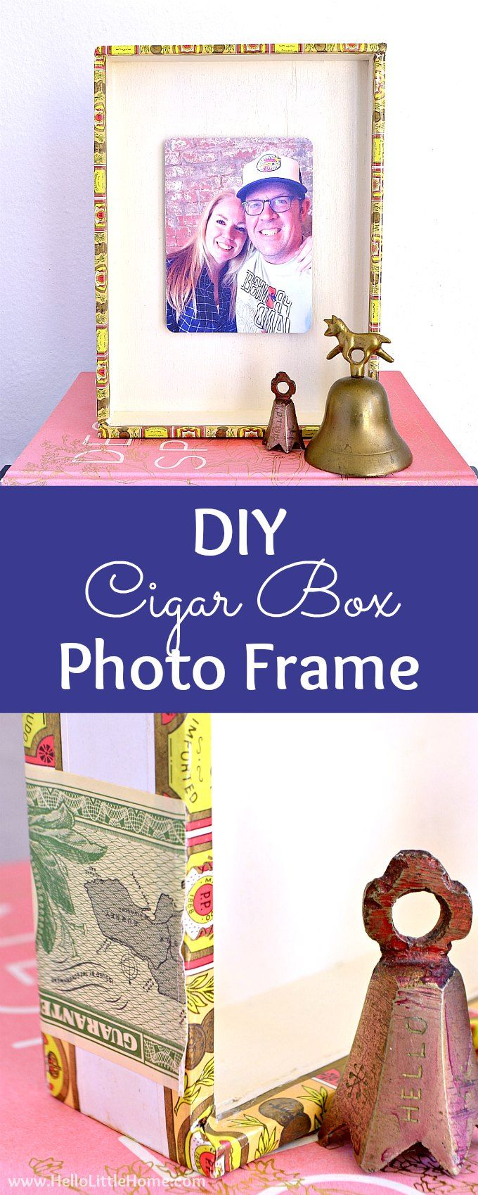 DIY Cigar Box Photo Frame tutorial! Looking for DIY photo frame ideas? Learn how to make a DIY picture frame from a repurposed cigar box. This easy cigar box craft is a simple vintage inspired wood frame for a fave photograph. A unique cigar box craft idea that's a creative gift for boyfriends, kids, friends, or moms or a home decor decoration you can hang on the wall. | Hello Little Home #cigarbox #cigarboxcraft #diyphotoframe #photocraft #photograph #pictureframes #diypictureframe via