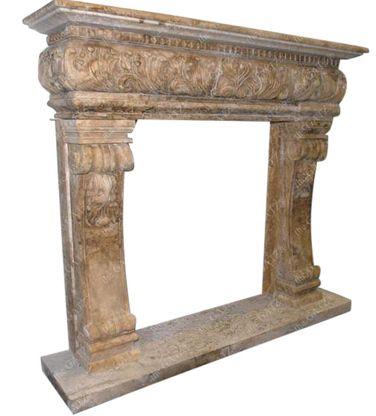 Travertine Fireplace Mantel, Renaissance or Old World Style #3854