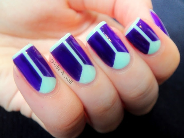 Violet and Mint Taped Nails