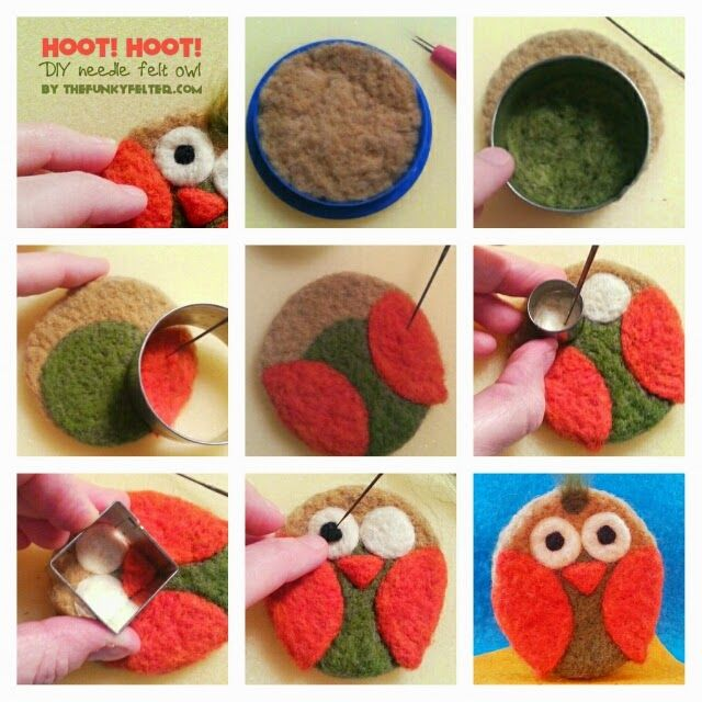 needle felted owl craft tutorial - very easy for beginners using cookie cutters as guides