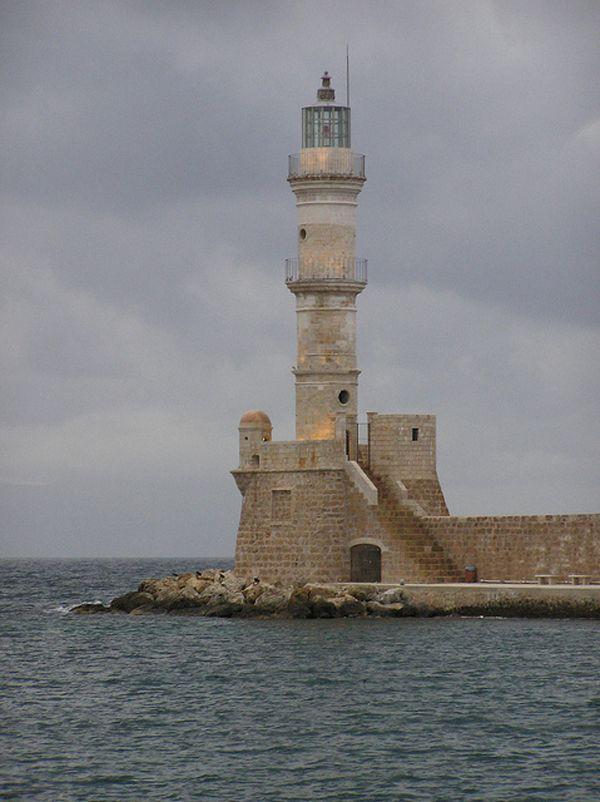 Chania Lighthouse, Crete, Greece.Lights House, Unusual Lighthouses, Old Lighthouses, Castles Lighthouses, Crete Lighthouses, Chania Lighthouses, Amazing Lighthouses, Beautiful Lighthouses, Classic Lighthousesit