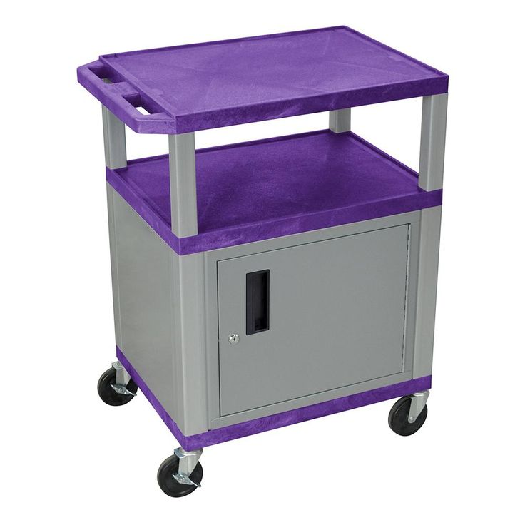 WT 42 in. H , A/V Cart With Nickel Colored Cabinet, Purple Shelves, Purple/Nickel