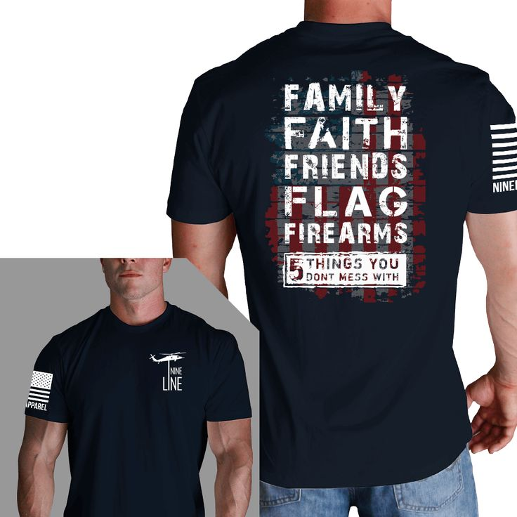 Design: - Front: Drop Line - Back: 5 Things You Don't Mess With - Right Sleeve: NineLine Apparel American Flag Key Features: - 100% combed cotton jersey - 32 singles for extreme softness - 1x1 baby ri