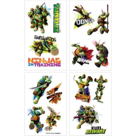 Teenage Mutant Ninja Turtles Tattoos 4 Sheets - Party City
