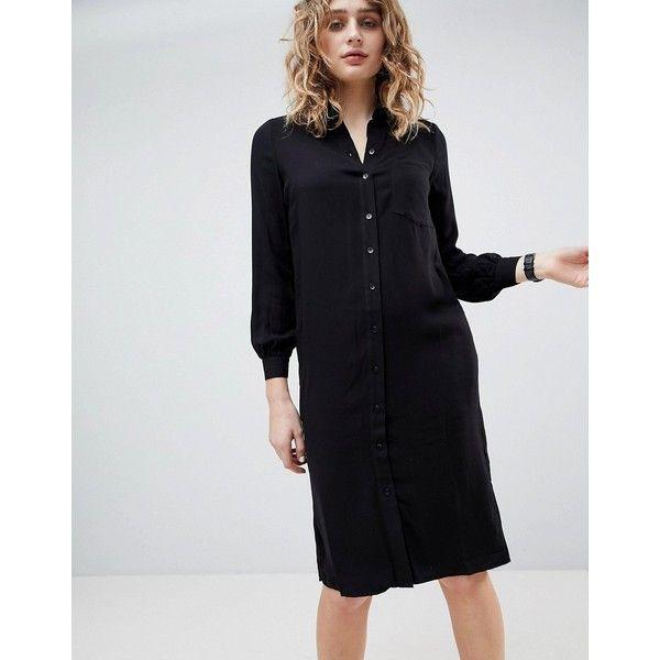 ASOS Midi Shirt Dress ($51) ❤ liked on Polyvore featuring dresses, black, long-sleeve shirt dresses, midi dress, sleeve shirt dress, blouson dress and midi day dresses