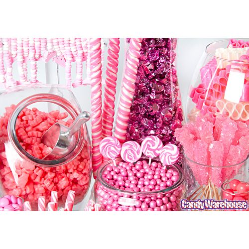 Pink candy table for shower - rock candy, lollipops, ring pops...