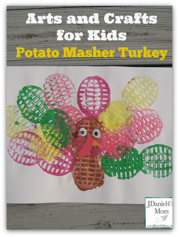 Arts and Crafts for Kids- Potato Masher Turkey: Laminated this would be a fun place mat for your Thanksgiving feast.