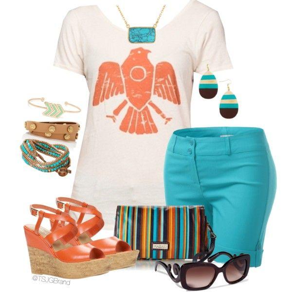 """Karina Tee + Turquoise Shorts"" by tsjgbrand on Polyvore"