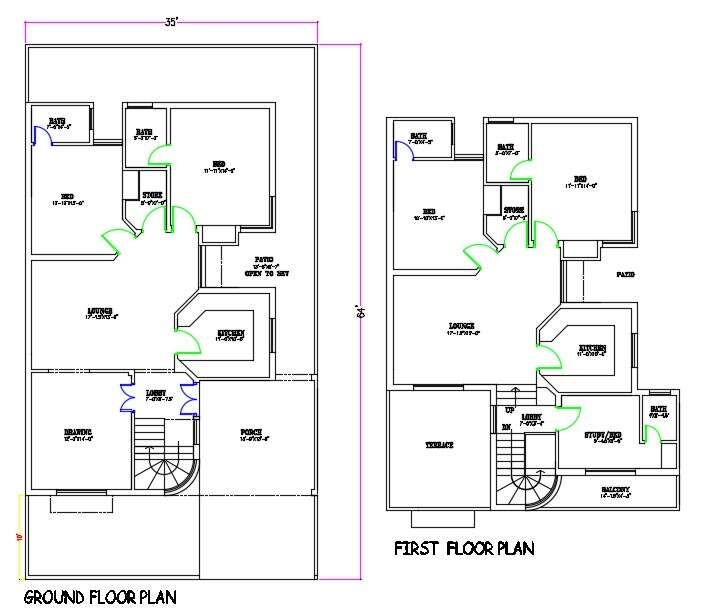 35 X64 House Ground Floor And First Floor Layout Plan Dwg File Cadbull Floor Layout Ground Floor Small House Plan