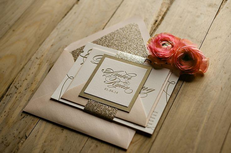 Pink and gold wedding invitations, glitter wedding invitations, wedding invitation trends for 2014, Just Invite Me