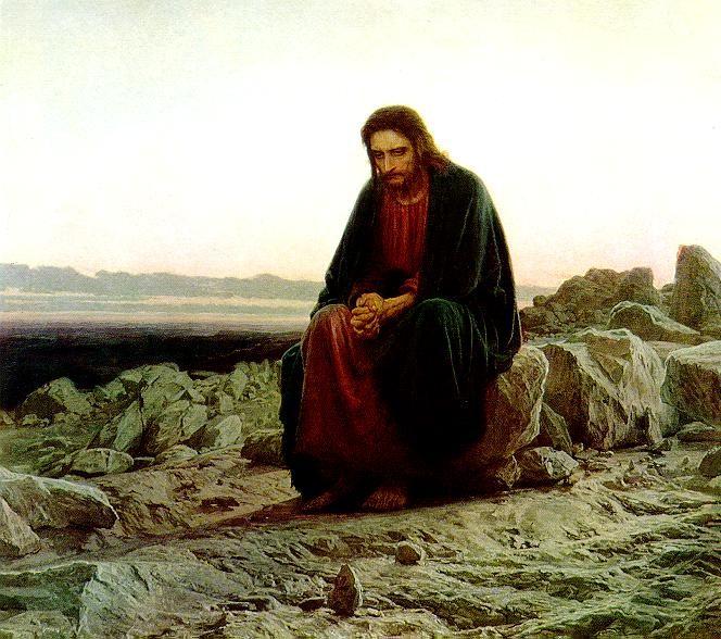 """Cristo en el desierto: IVÁN KRAMSKÓI. Realismo ruso. Grupo """"Los Itinerantes"""". OSTROGOSHK, región de VORONEZH. 1837-1887"""
