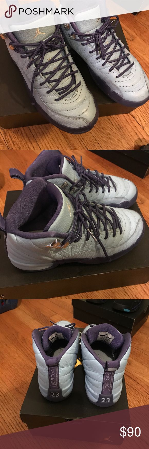 Jordan 12 Hornets Kids 5.5 Gently worn Jordan 12 Blue & Purple. Size 5.5 kids Jordan Shoes Sneakers