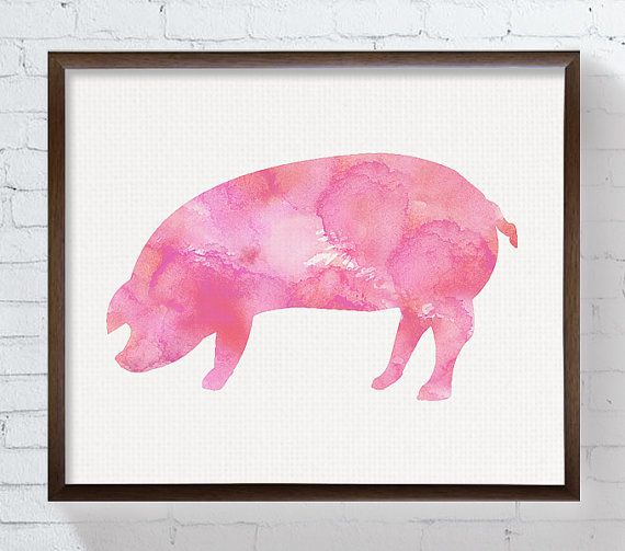 Pig Art Print Watercolor Pig Pig Painting by MiaoMiaoDesign
