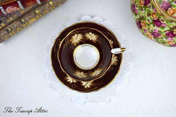 Royal Stafford Deep Red Teacup and Saucer With Large Leaves