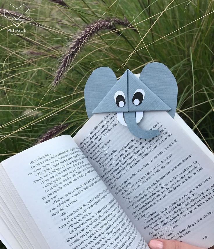pliegue.lv• • • Marca Libro • • •   : #pliegue #marcalibro #origami #bookmarks #elefante #paperlicious