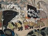 Marcus Collin (1882-1966): In the Harbour, oil