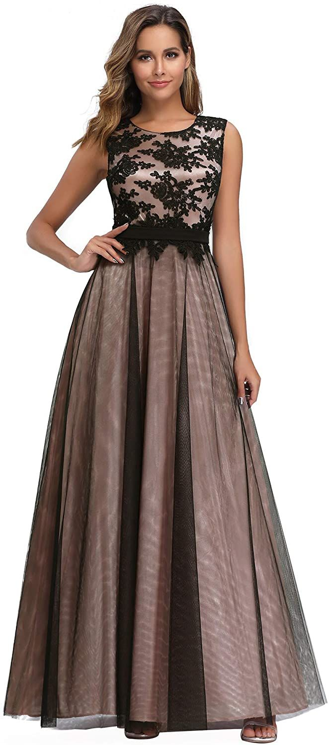 Ever-Pretty A-Line Sleeveless Floral Lace Bridesmaid Maxi Ball Prom Dress Gowns