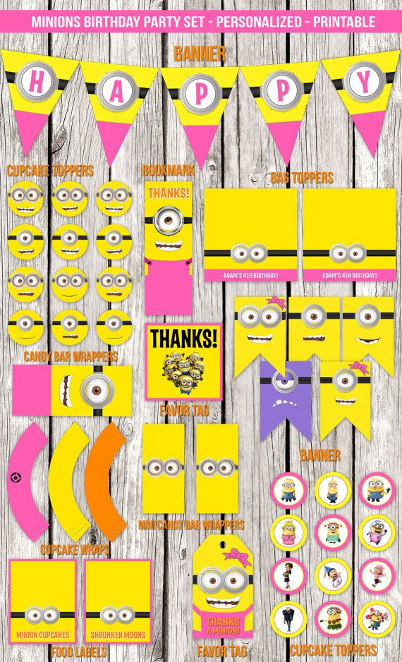 Pink Minions Complete Birthday Party Set  by LetsPrintAParty