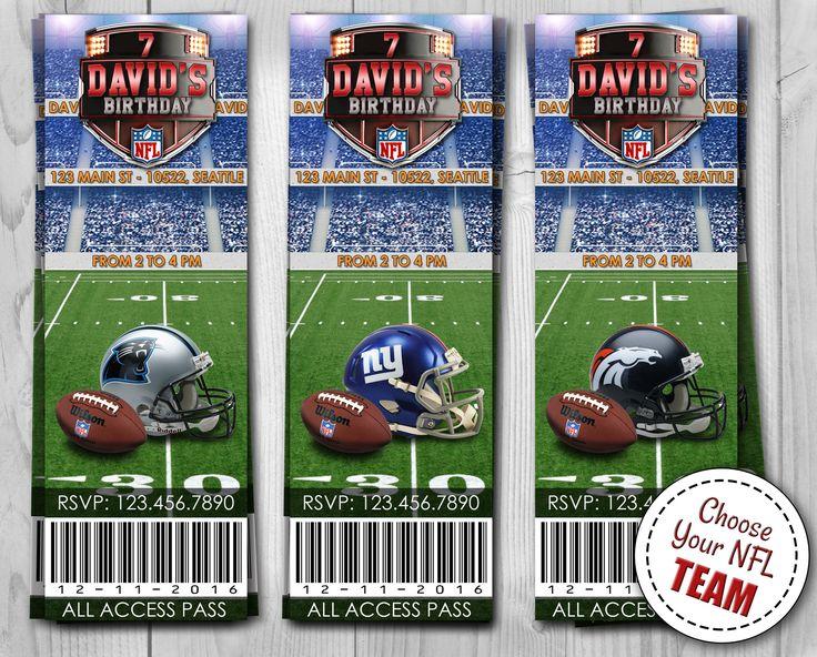 NFL Ticktes Invitation - Choose your team!   Digital Invitations (jpg and pdf files)  Denver Broncos, Seattle Seahawks, New England Patriots, Carolina Panthers, Dallas Cowboys, Houston Texans, Los Angeles Rams, New York Giants, San Francisco 49ers ...