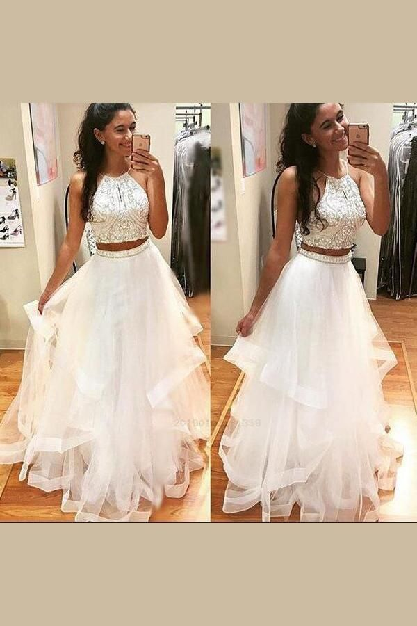 Outlet Comely Prom Dress 2019, White Prom Dress, Prom Dress Two Piece, Prom Dress Long