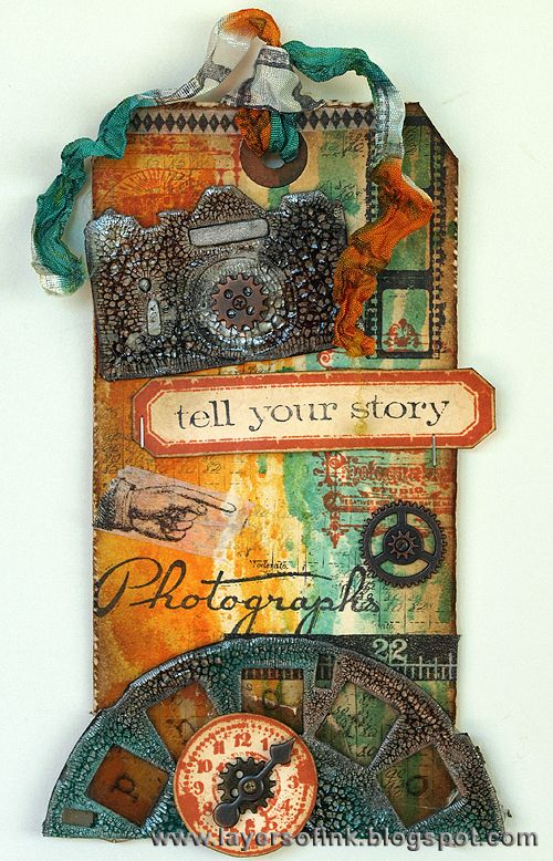 Layers of ink: 12 tags of 2013 July, using lots of Tim Holtz products.