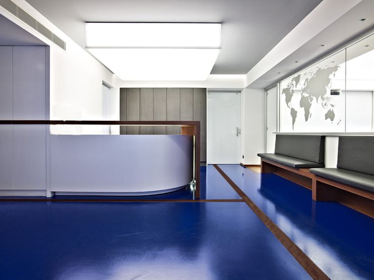 OFFICE SPACES FOR A MARITIME COMPANY #Reception #Detail #Blue #Floor #Architecture #Interiordesign #Piraeus #Athens #Greece #Kipseliarchitects