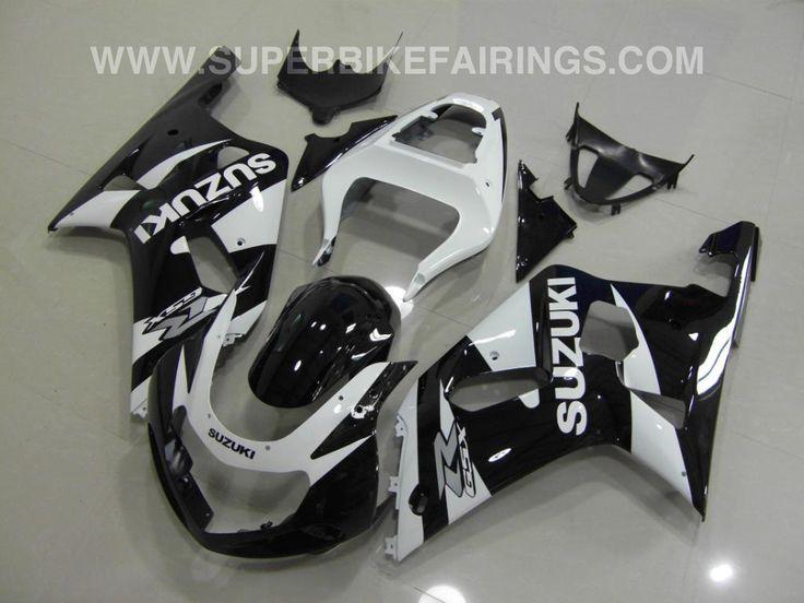 2001-2003 GSXR-600 750 Black & White Suzuki Fairings