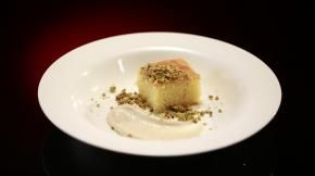 Helena and Vikki's desert on My Kitchen Rules - Orange & Clove Semolina Cake with Spiced Mascarpone