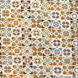 Tissu Coton imprimé vintage marron