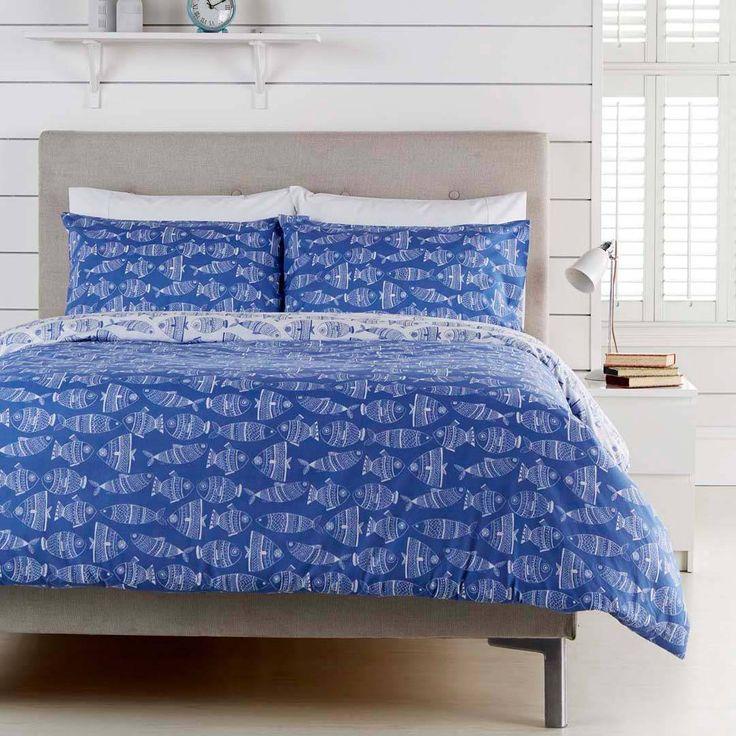 Hummingbird Blue Fish Cotton Kingsize Duvet Set Duvet