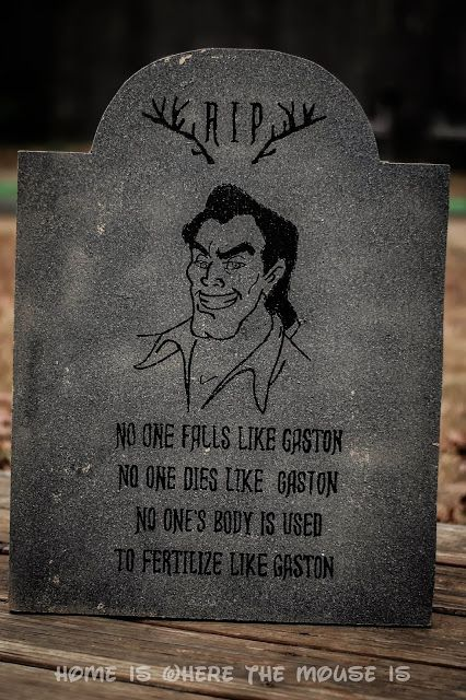 13 Disney Nights of Halloween - #10 DIY Disney Villain Tombstone | Home is Where the Mouse is - Gaston's Tombstone