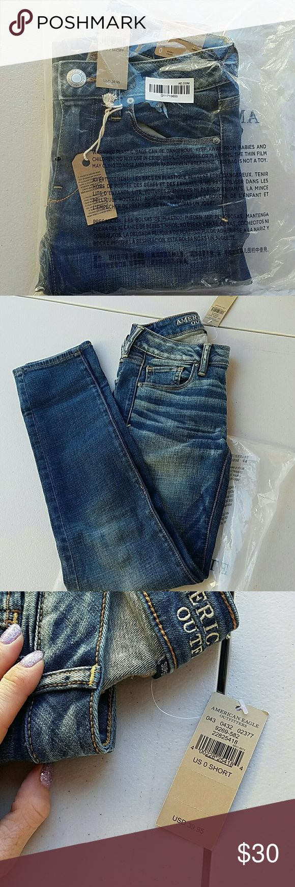 Brand new never worn American Eagle jeans Still in bag tag attached I ordered these online and never wore them. They're absolutely perfect just not what I thought I ordered. Size 0 short skinny jeans Great Wash it's called Paradise wave low-rise super stretch American Eagle Outfitters Jeans Skinny